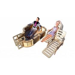 """Комплект мебели """"Бассейн с шезлонгом для больших кукол"""""""
