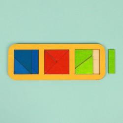 """Рамка-вкладыш """"Квадраты, 3 шт."""" по методике Никитина, 10 деталей, МИКС"""