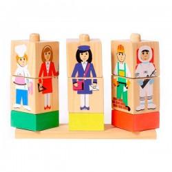 Детские кубики Кубики на палочке Профессии